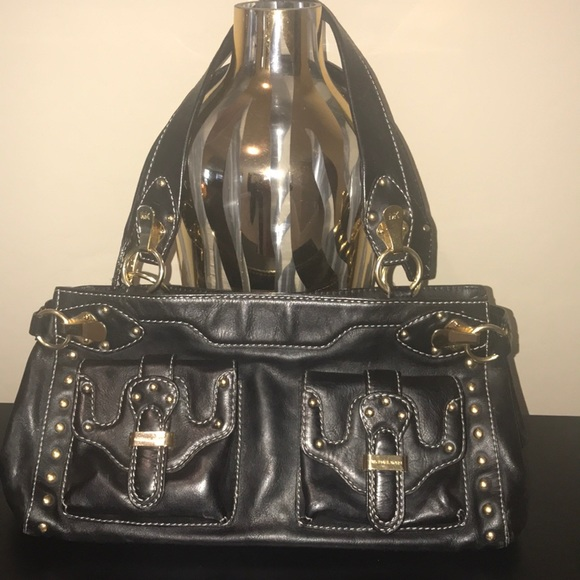 Michael Kors Handbags - Michael Kors black leather handbag w/gold hardware